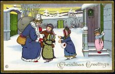 SANTA CLAUS in Blue Coat Greeting Children Postcard c 1910 PAULI EBNER