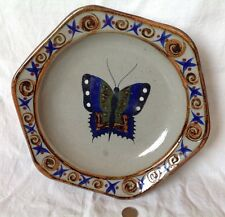 Grand plat ART DECO faïence polychrome Décor papillon Art Mexicain Vintage