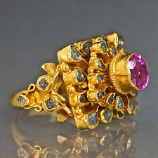 Vintage Etruscan Solid 24K Gold .80 ct Pink Sapphire, .62 cttw Grey Diamond Ring
