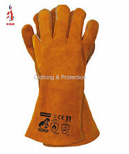 NEW KEVLAR STITCHED GLOVES HIGH TEMP STOVE LONG LINED WELDERS GAUNTLETS LOG FIRE