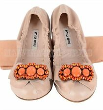 $650 MIU MIU BY PRADA SHOES CRYSTAL BALLERINA FLATS LEATHER JEWEL LOAFERS PINK