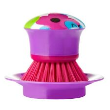 Vigar Plastic Purple Watercolour Palm Dish Brush & Stand Pot Scrubber Washer