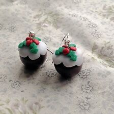 Christmas Pudding Drop Earrings Handmade Kitsch Festive Cute Party fimo
