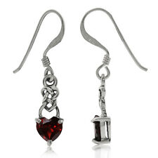 Petite Heart Shape Garnet 925 Sterling Silver Celtic Knot Dangle Earrings