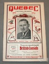 1933-34 Providence VS Quebec Beavers Program Gagnon