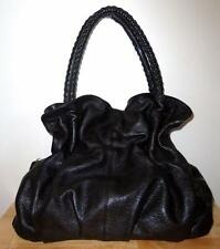 SUNDANCE - BLACK LEATHER TOTE / SATCHEL HAND BAG - LARGE - NEW- MADE IN ITALY
