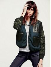 NEW WOMEN'S FREE PEOPLE NEW ROMANTICS GOTTA GET IT BASEBALL JACKET SIZE MEDIUM