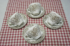 4 SETS Cups and Saucers English Ironstone Tableware Ltd. 'KEW GARDENS' Brown