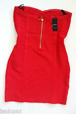 NWT bebe red bandage strapless tube gold zipper back stretchytop dress L large