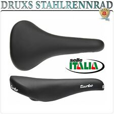 SELLE ITALIA SATTEL SADDLE TURBO SCHWARZ BLACK RENNRAD ROAD BIKE VINTAGE EROICA