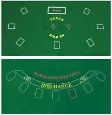 Cover Sealed Poker Table Top Green Mat Pad Blackjack Texas HoldEm 2 Side Compact