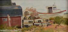 Terri Kelly Moyers Oil Painting Fishing Boat & Lobster Pots American Listed