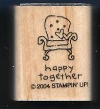 HAPPY TOGETHER COMFY CHAIR word small Gift Tag NEW Stampin Up! wood Rubber Stamp