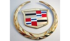 Cadillac ESCALADE 2002 03 2004 05 2006 GRILLE WREATH & CREST EMBLEM GOLD PLATED