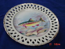 Vintage Plate Hand Painted Fish  Trout Japan Reticulated Sport Nature Porcelain