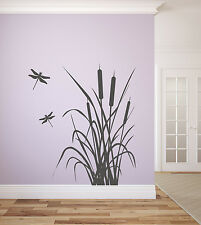 """Dragonfly and Cattails Vinyl Wall Decal Graphics 42"""" x 48"""""""