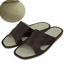 Men's Leather Slippers Shoes Sandals, Flip Flops, Brown Size 13 (EUR 47)