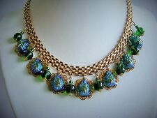 Vintage Necklace & Earrings  Emerald Green Glass