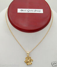 3D Floral Pendant with Ball Bead Chain Necklace Real 14K Yellow Gold 5.10gr