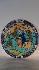 ANTIQUE PERSIAN CERAMIC HAND PAINTED TILE BIG POLO GAME SCENE QASAR ISLAMIC ART