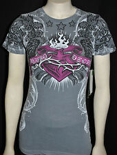 NWT SINFUL by AFFLICTION women's AMBROSIA graphic short sleeve crewneck T-SHIRT