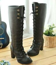 Women's High Block Heel Lace Up Side Zipper Knee High Boots Ladies SHoes Size