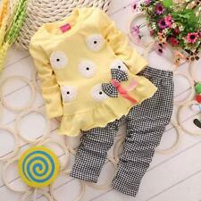 Toddler Kids Baby Girl Spring Outfits T-Shirt Tops Dress+Plaid Pants Clothes US