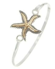 Coastal Silver Gold STARFISH Sea Life Narrow Hook BANGLE Bracelet NWT NEW