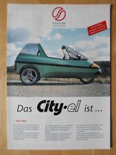 City-el Electric Microcar Trike Raro Folleto 1997-Ciudad COM Alemania