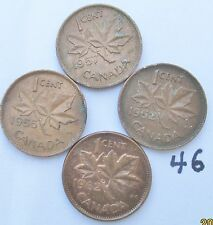 Canada 1952-1955-1956-1962 1 cent coins  # 46
