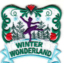 """""""WINTER WONDERLAND"""" - SKATER - SNOW - OUTDOORS -  IRON ON EMBROIDERED PATCH"""