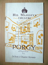 HIS MAJESTY'S THEATRE PROGRAMME- PORGY by DU BOSE & DOROTHY HEYWARD
