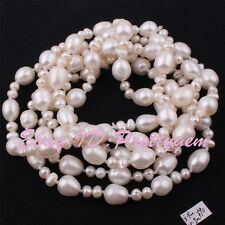 """4x5-8x9mm Natural White Freshwater Pearl Beads Genstone Handwork Necklace 45"""""""