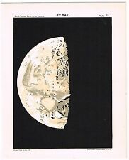 ANTIQUE PRINT VINTAGE 1925 ASTRONOMY STAR MAP CHART MOON 8TH DAY MATTE BLACK