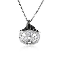 JewelryPalace Pumpkin 1.7ct CZ Genuine Black Spinel Pendant 925 Sterling Silver