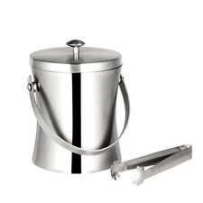 1L Champagne Ice Bucket Lid Stainless Steel Wine Cooler Bucket with Tong