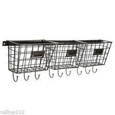 Metal Basket Rack with Hooks  RUSTIC VINTAGE WALL DECOR