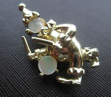 Vintage MOTHER OF PEARL DRUMMER CLOWN BROOCH Pin Figural Estate Gold Tone Circus