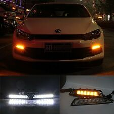 2x LED DRL Daytime Day Light w/ Turn Signal For Volkswagen Scirocco 2010-2013