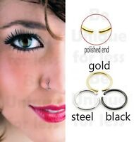 316L Surgical Steel Fake Small Nose Ring Hoop 6mm,8mm --Simply Slide into Place!