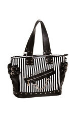 BANNED BLACK & WHITE  HANDCUFF STRIPED  NEW FEATURES GOTHIC DESIGN SHOULDER BAG