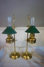 VTG PAIR ALADDIN OIL LAMP ADJUSTABLE HEIGHT BOUILLOTTE BRASS HURRICANE GREEN