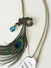 Women Retro Metallic Peacock Feather Look blue Green Sweater Long chain Necklace