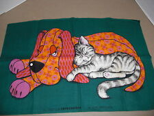 Vintage Kitchen Tea Towel Linen Textile Impressions Cat Sleeping with Dog