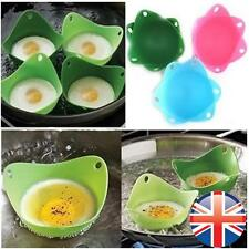 *UK Seller* 4X Silicone Egg Poaching Pods Poacher Cups Chooks Kitchen Cookware