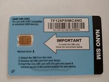 TRACFONE NANO SIM CARD AT&T GSM NETWORK FITS IPHONE 5, 5S, 5C, 6, 6+, 6S