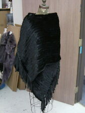 Mahogany MINK Knitted Woven Fringed Shawl Cape Coat