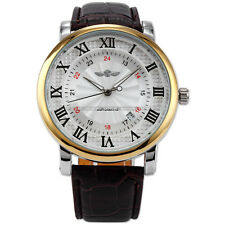 Rome Number Automatic Mechanical Auto Date Display Leather Band Men Casual Watch