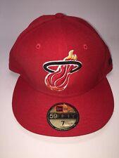 *NEW NBA New Era Miami Heat 59Fifty Cap Flat Brim Hat Red Size 7