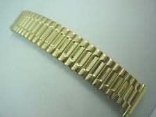 "Flexon Mens Vintage Watch Band Straight Expansion Gold Tone 16mm-21mm 5/8""-3/4"""